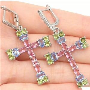 Pink tourmaline peridot Iolite Cross Earrings New